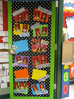 back to school door decor, clasrooom birthdays display
