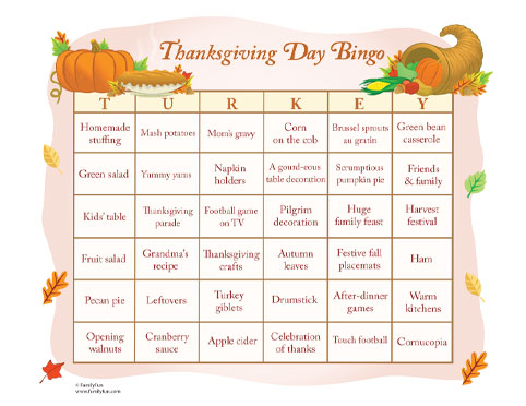 Thanksgiving Day Bingo Kids