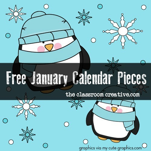 printable january calendar pattern pieces for preschool, kindergarten, first grade