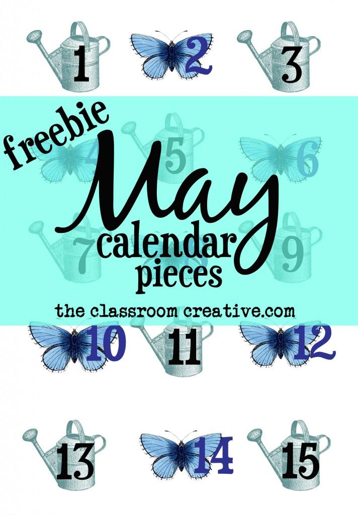 May calendar pieces, May calendar cards, free May calendar pieces for preschool, kindergarten, first grade, second grade