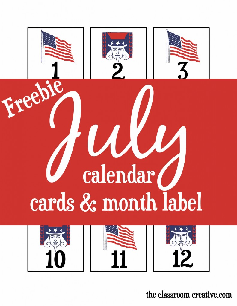 free july printable calendar cards, free july calendar pieces, preschool, kindergarten, first grade, free printable july month label,