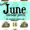 FREEBIE: June Calendar Pieces