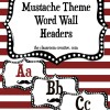 Word Wall Header Cards: Mustache Theme