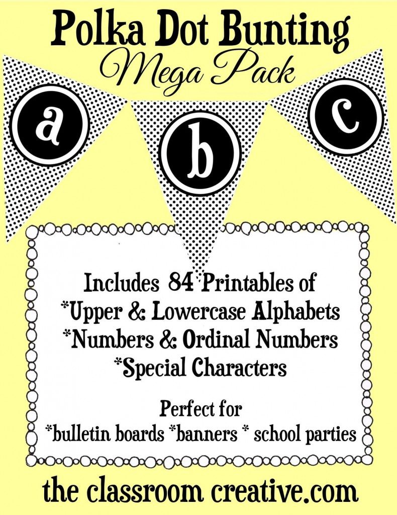 printable polka dot bunting, printable classroom decorations, bulletin board printables