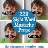 Sight Word Mustache Props