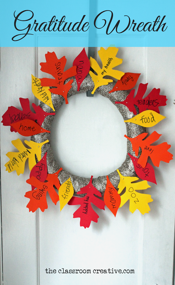 Gratitude wreath craft with free leaf templates for Turkey template for bulletin board