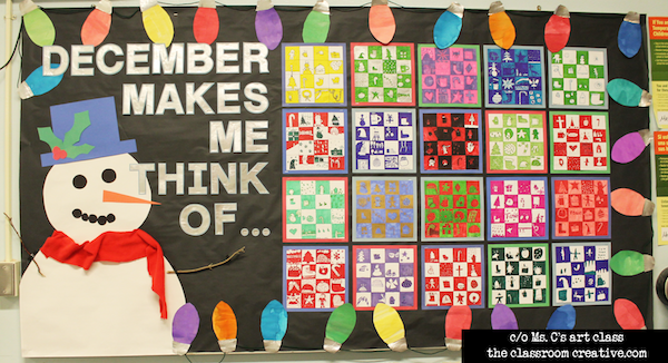 creative bulletin board for December, winter