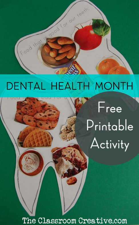 free printable dental health month sorting activity for kids good food bad food
