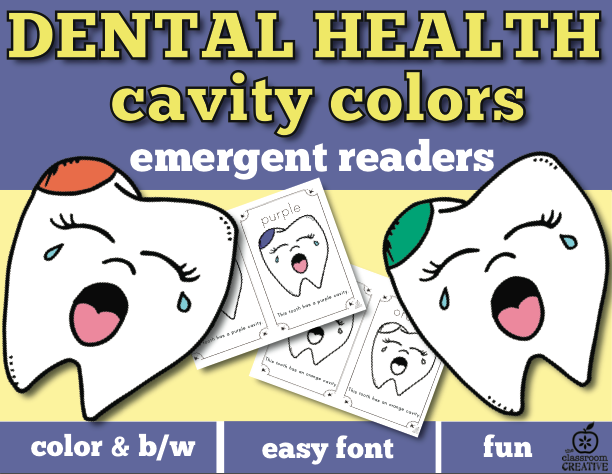 dental health month emergent reader, dental health month colors