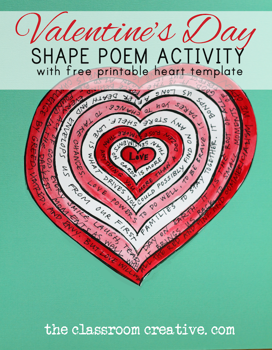 Valentine's Day poem activity, shape poems,
