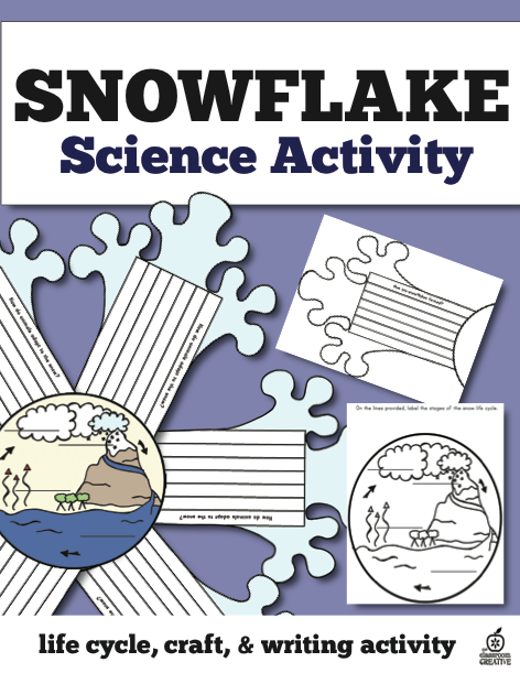 snowflake life cycle, craft, science and writing activity