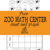 Free Kindergarten Zoo Math Center: Count and Graph 1-5