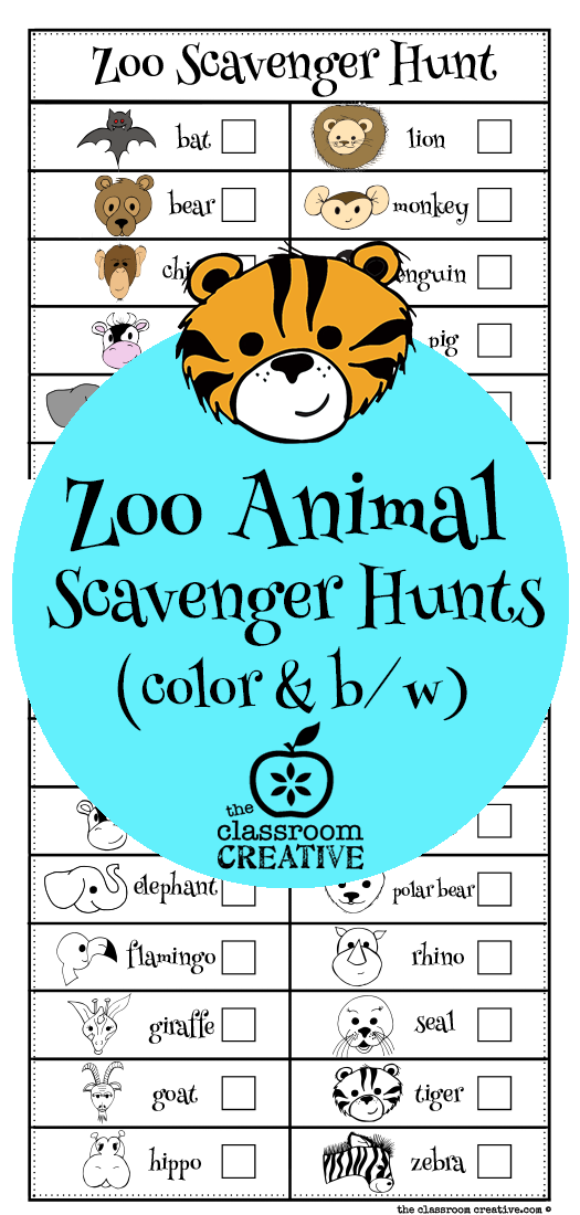 photo about Zoo Scavenger Hunt Printable named Zoo Animal Scavenger Hunt