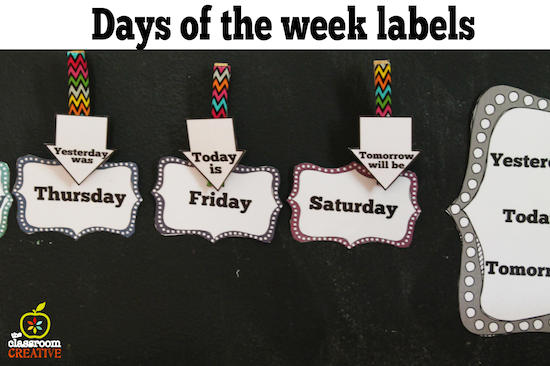 days of the week chart for calendar