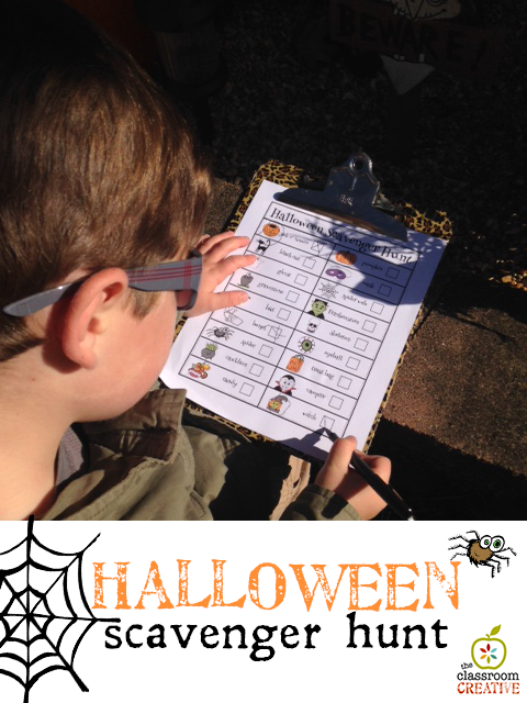 halloween scavenger hunt printable from theclassroomcreative.com