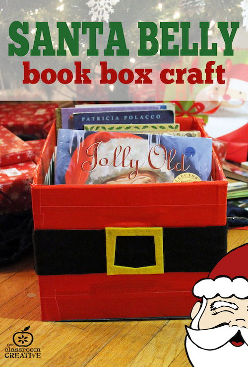 santa belly book box craft, santa craft, christmas craft for kids, christmas read-aloud ideas theclassroomcreative.com