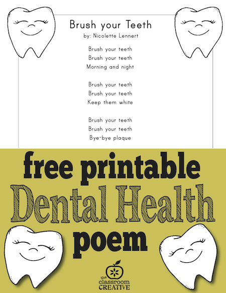 dental health poem, brush your teeth poem, self-care poem