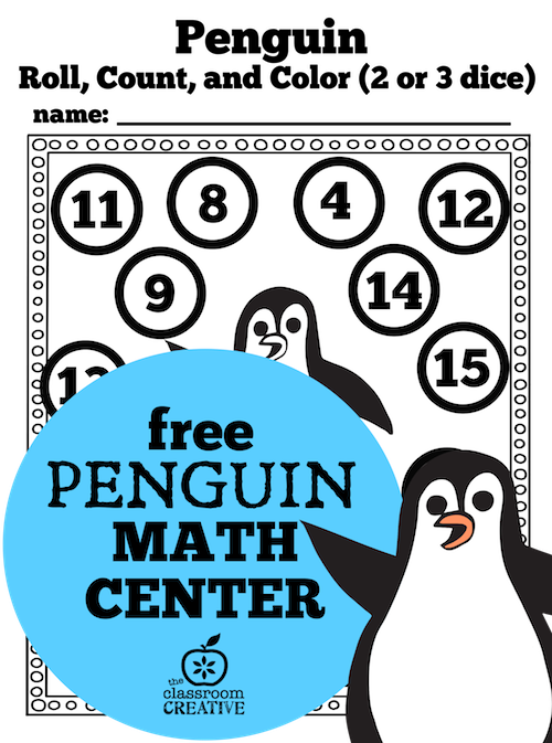 penguin math center kindergarten and first grade