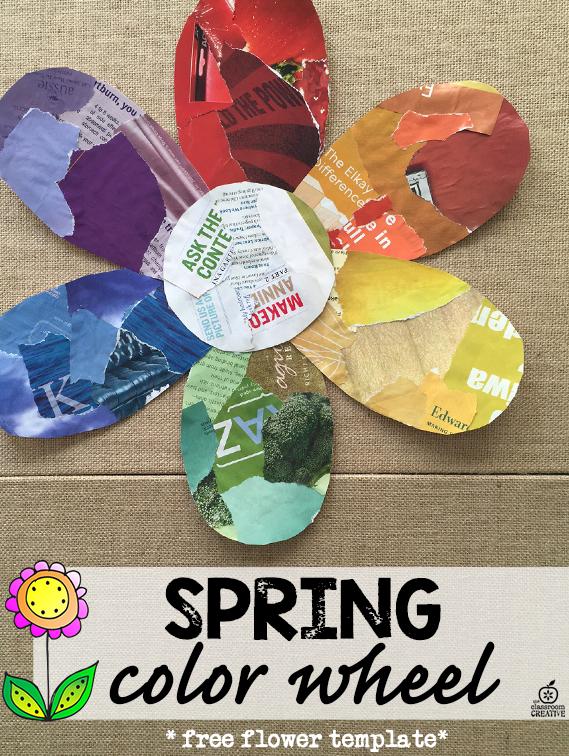 spring flower shaped color wheel, kids craft