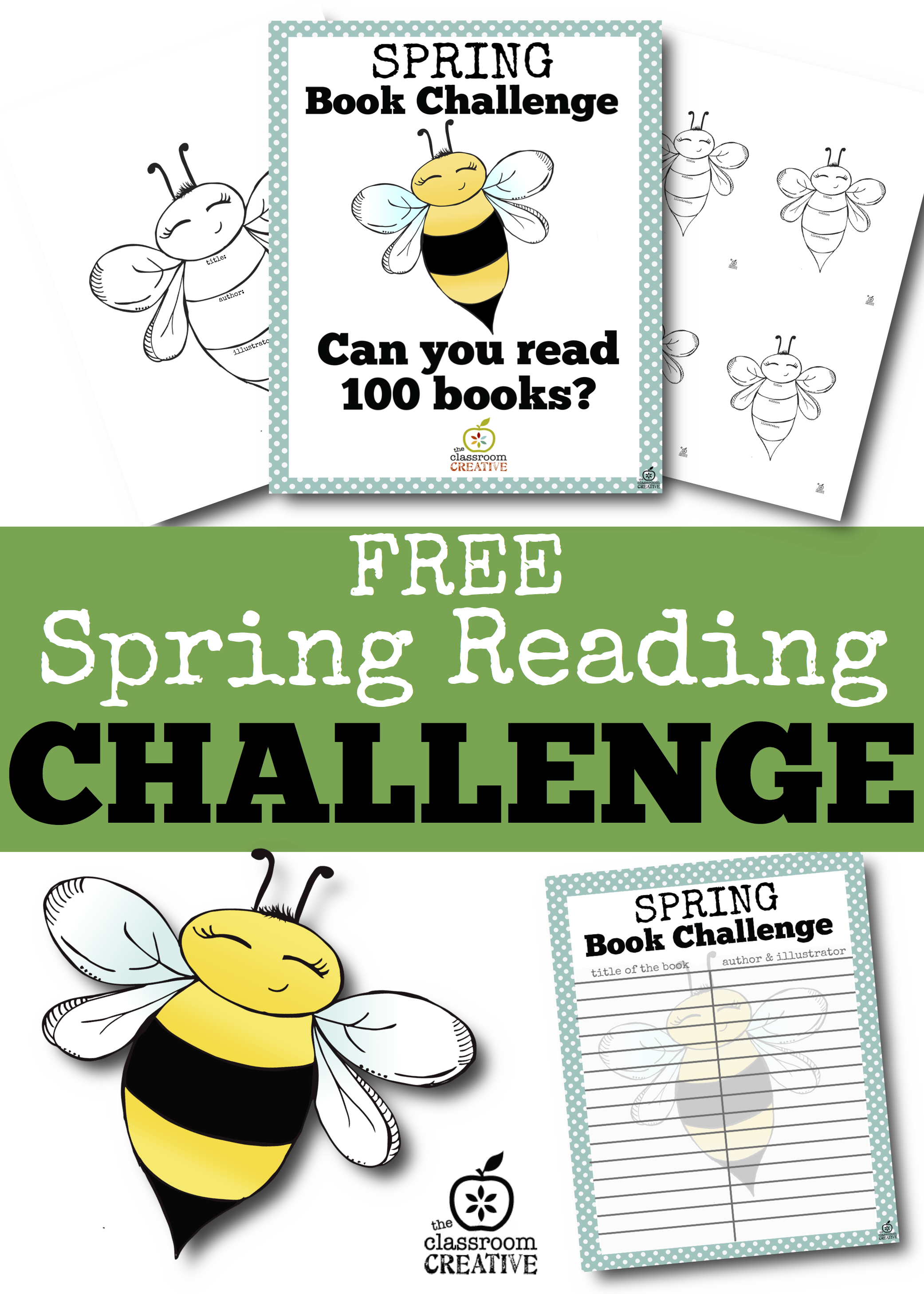 - Free Spring Reading Challenge (Bee Bulletin Board Printables And