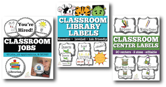 center library labels classroom jobs