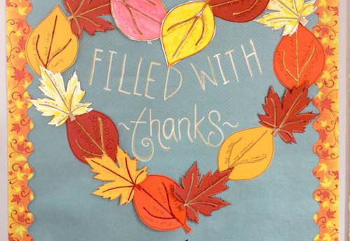 november bulletin board, thanksgiving bulletin board, gratitude bulletin board, gratitude craft