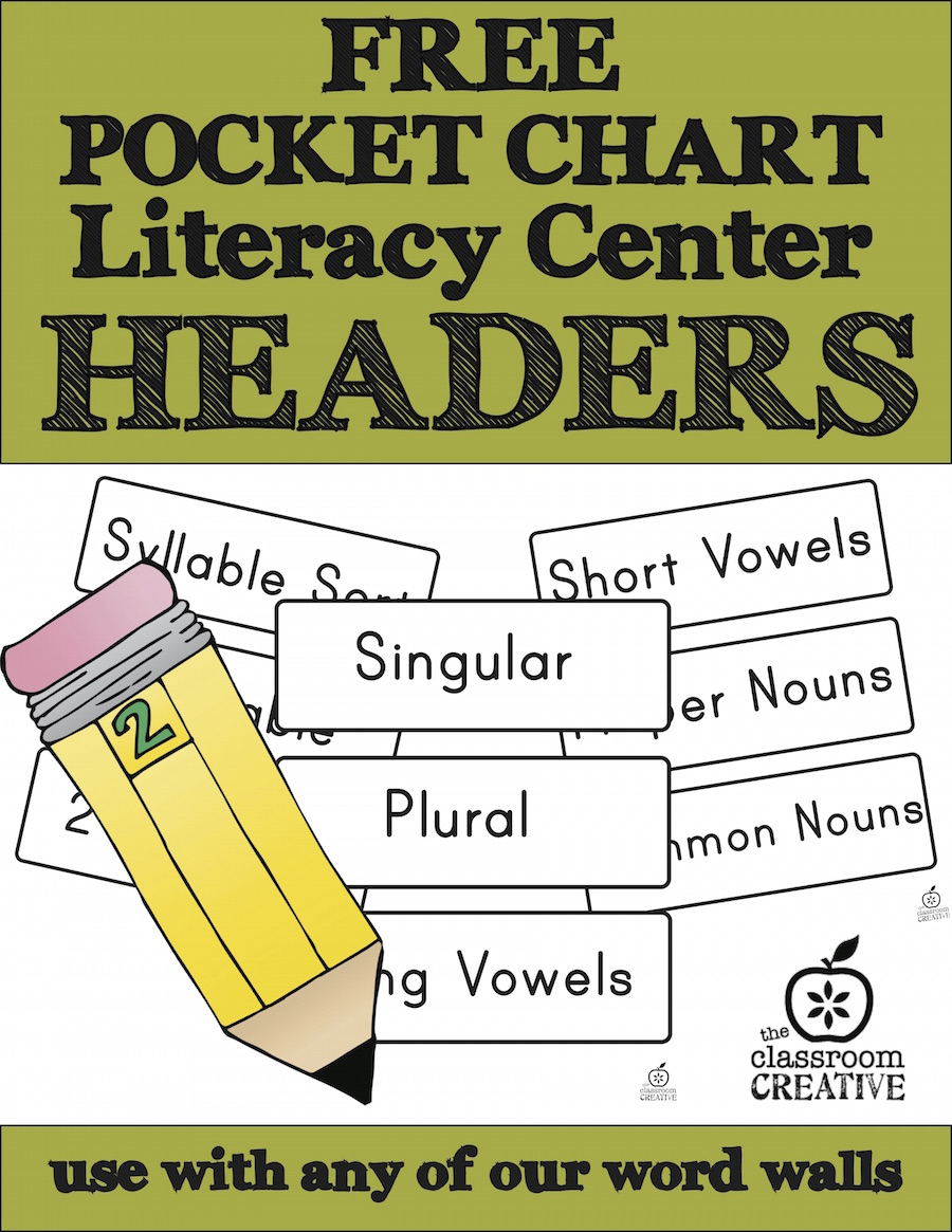 free pocket chart literacy center headers from the classroom creative