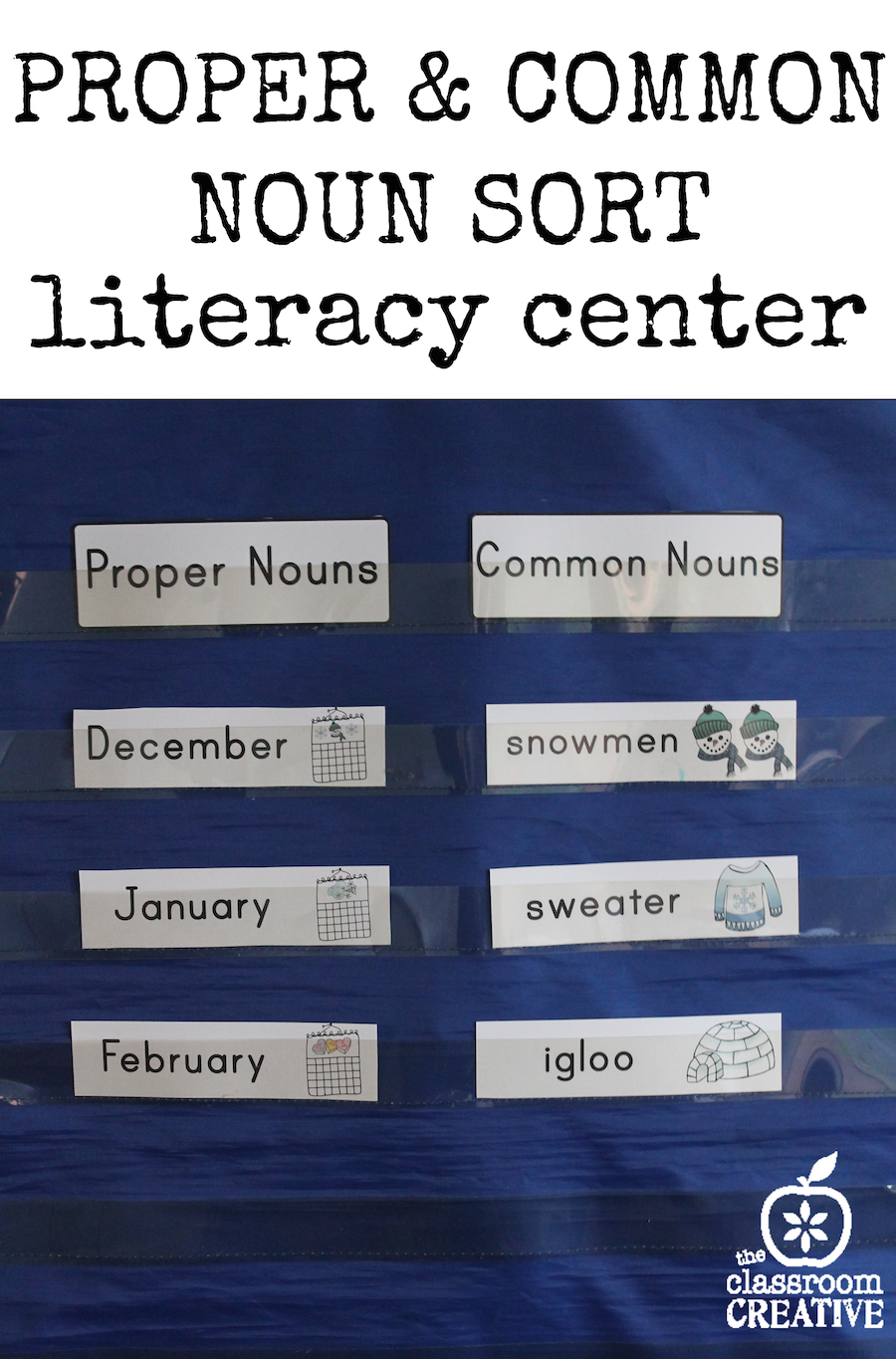 proper and common noun sort literacy center the classroom creative