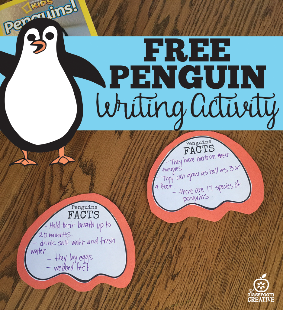 free penguin science writing activity
