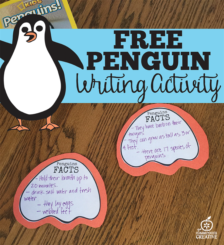 free penguin writing activity