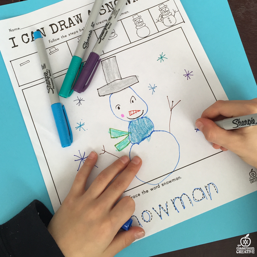 snowman directed drawing with sharpie markers