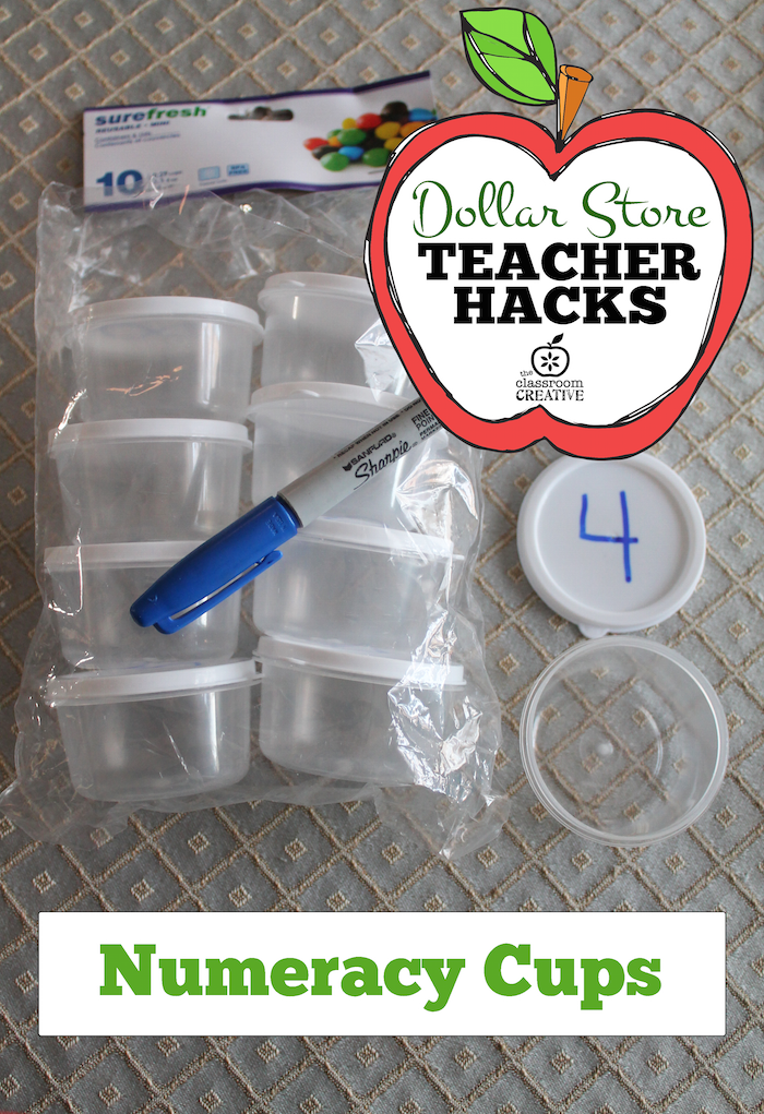 Dollar Store Teacher Hack:  Numeracy Cups