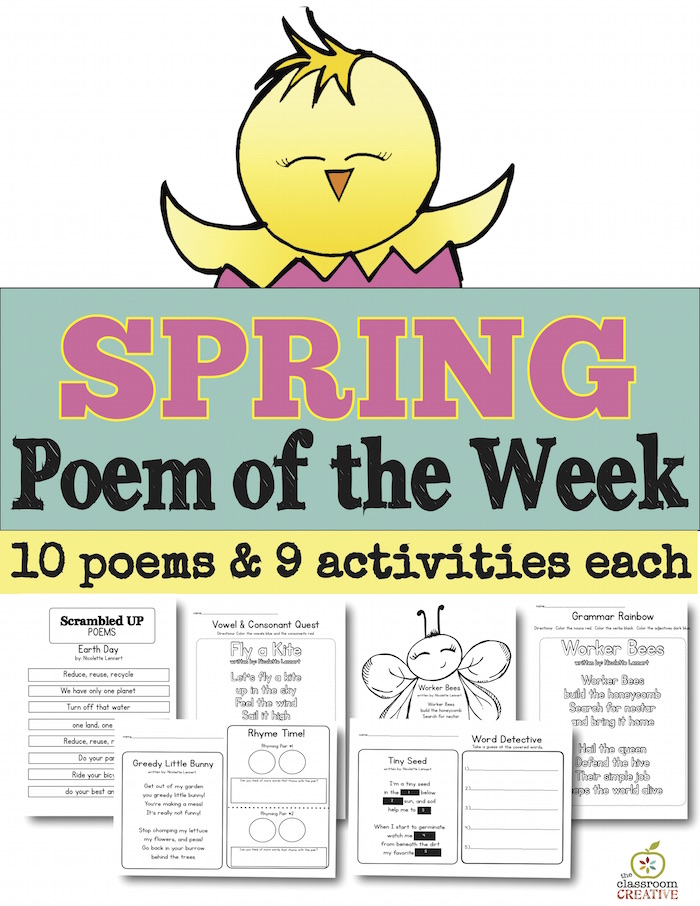 image regarding Printable Literacy Centers First Grade referred to as Totally free Printable Spring Poem for Preschool, Kindergarten, and