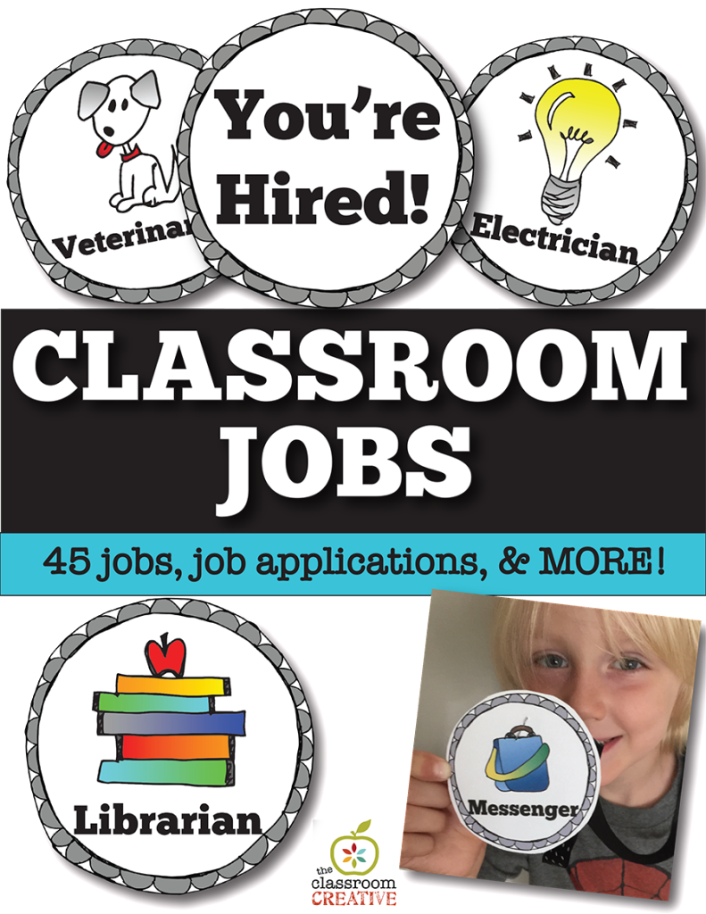 classroom jobs management organization for kids