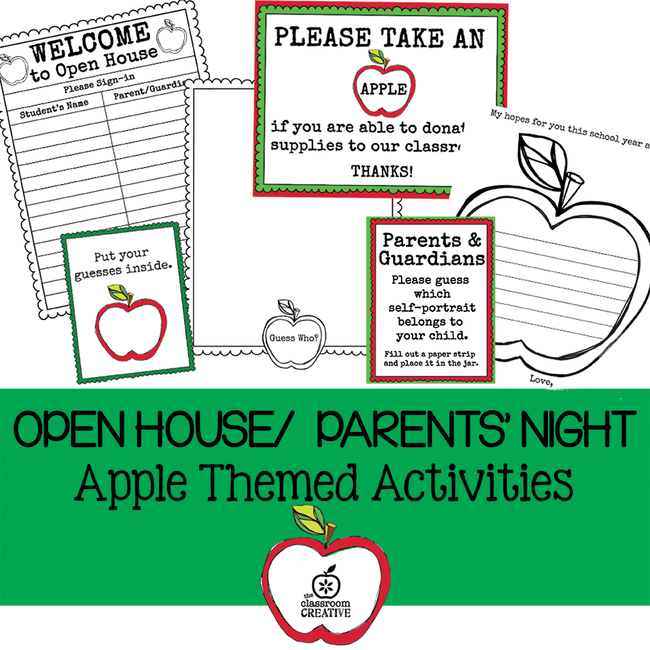 open house parents night back to school activities apple themed