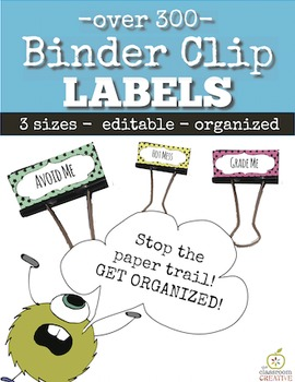 editable binder clip labels