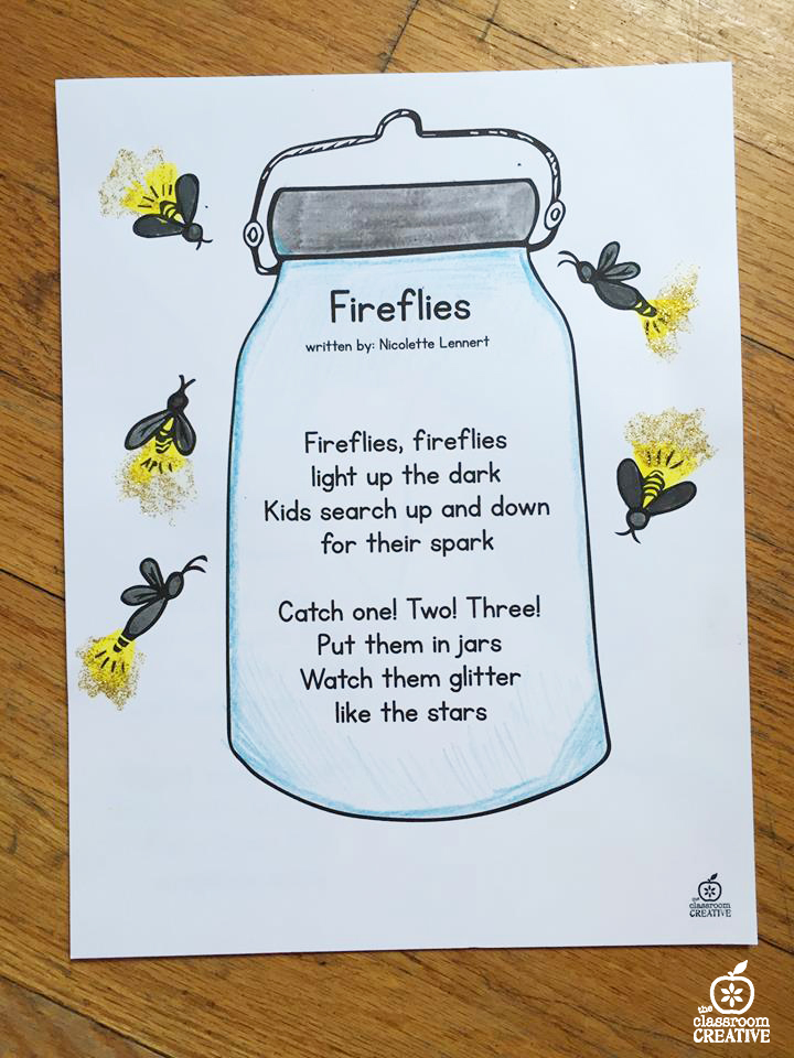 firefly poem for kids, summer poem for kids, summer poem unit