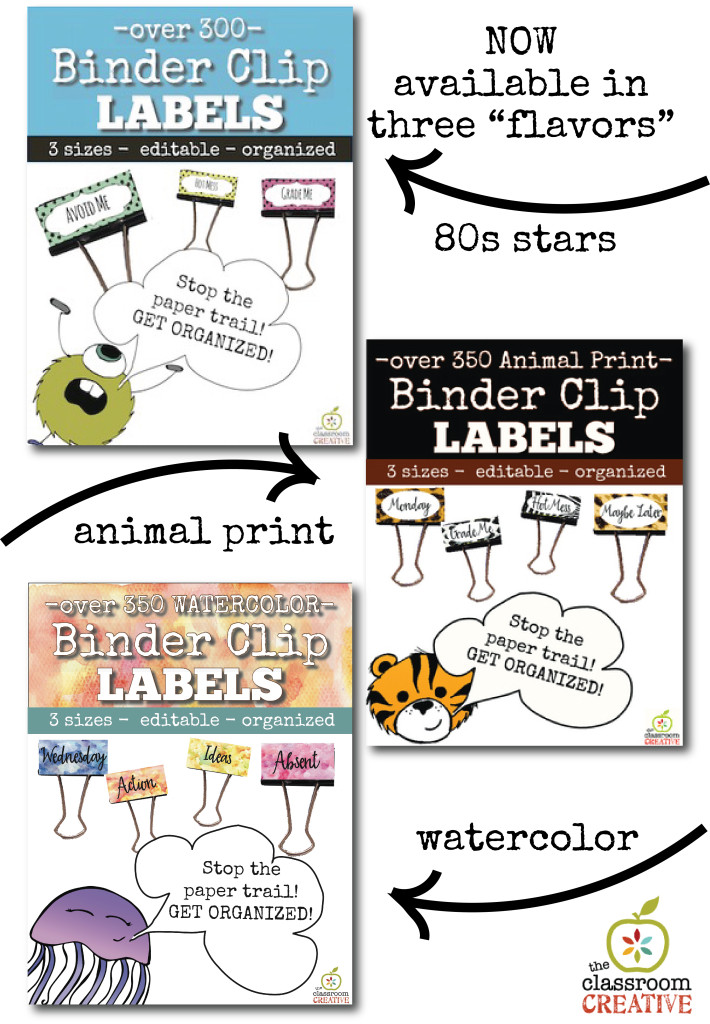 binder clip labels. 3 flavors