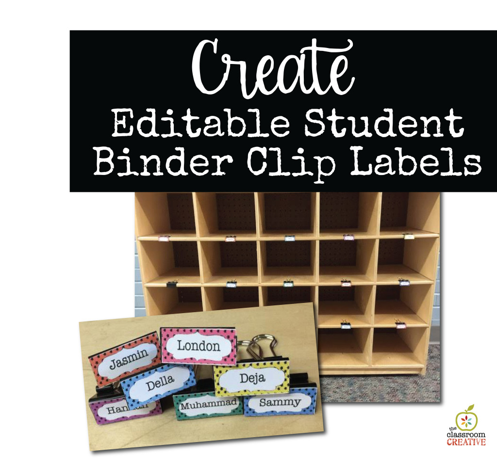 create editable student cubby and mailbox labels for binder clips