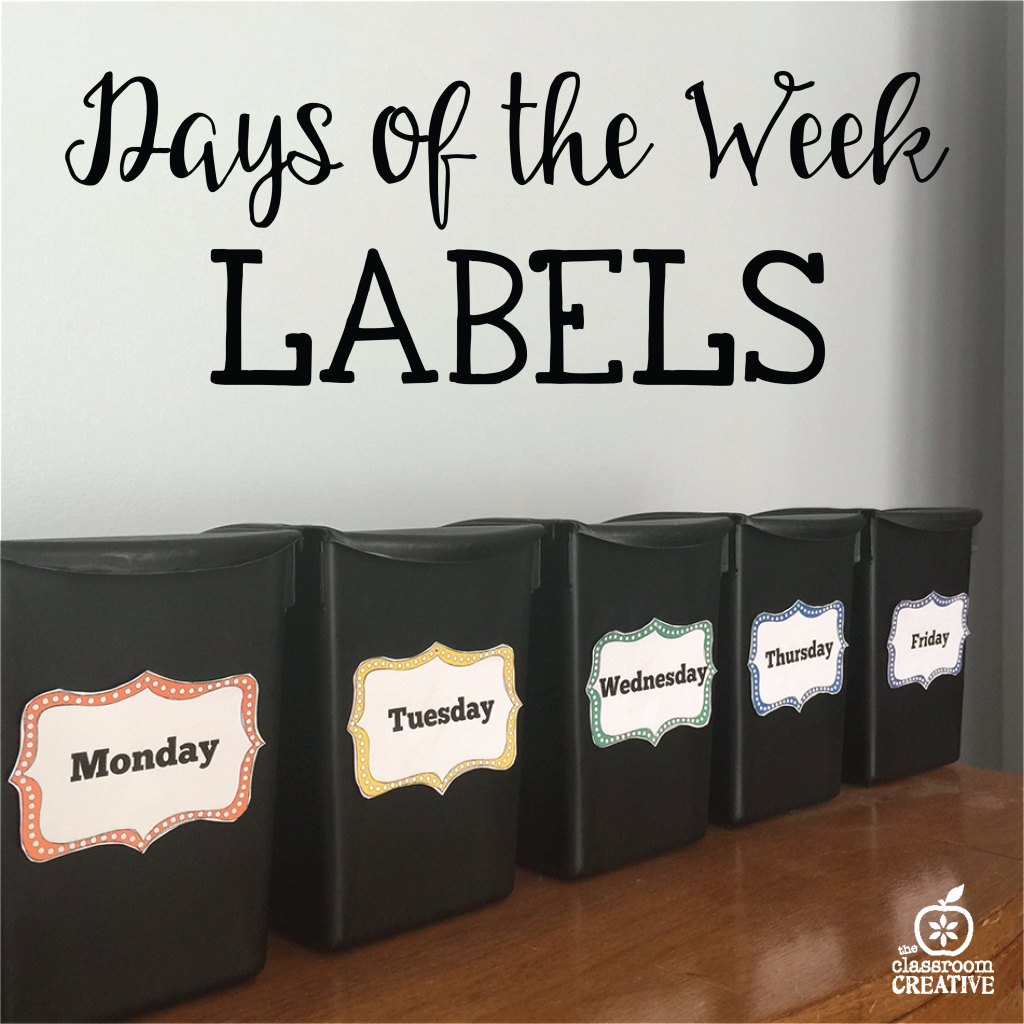days of the week labels printables