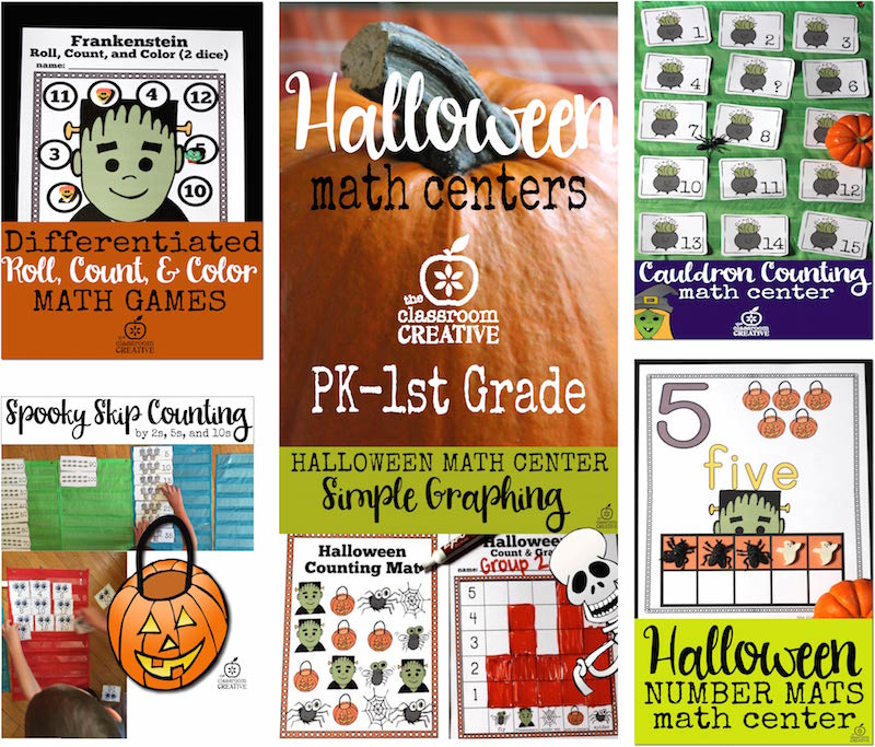 Halloween Math Centers for Preschool, Kindergarten, and First Grade (and a free math center)