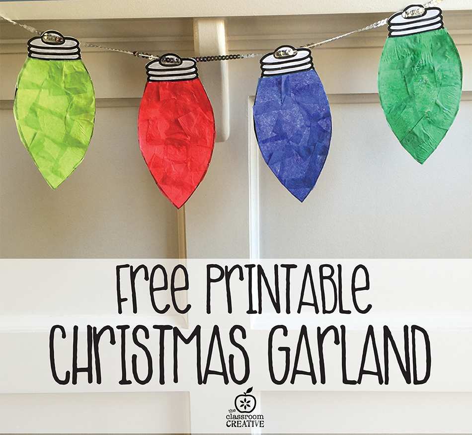Free Printable Christmas Light Garland Craft for Kids {Free Christmas Light Templates}