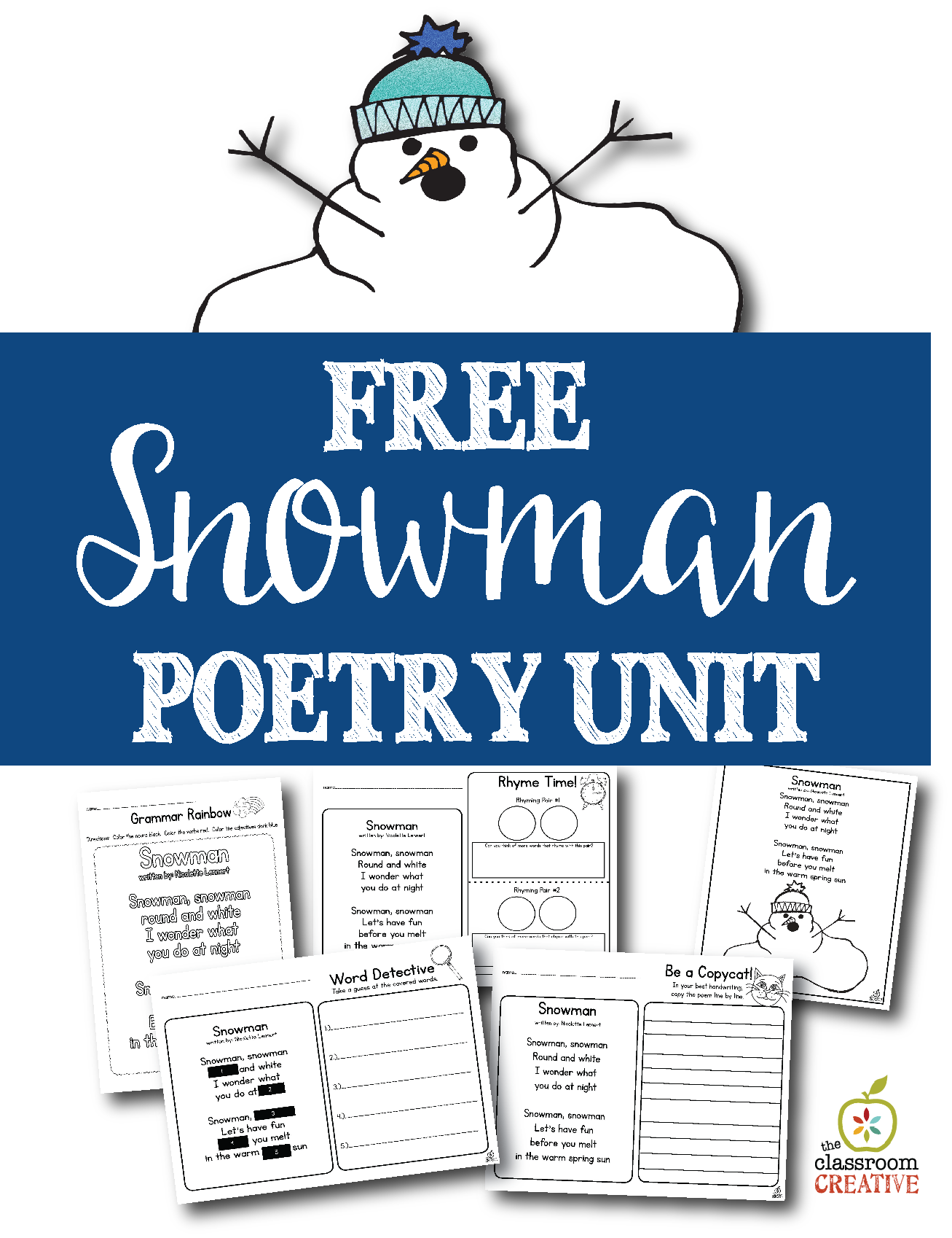 Free Printable Snowman Poem Unit and Literacy Center