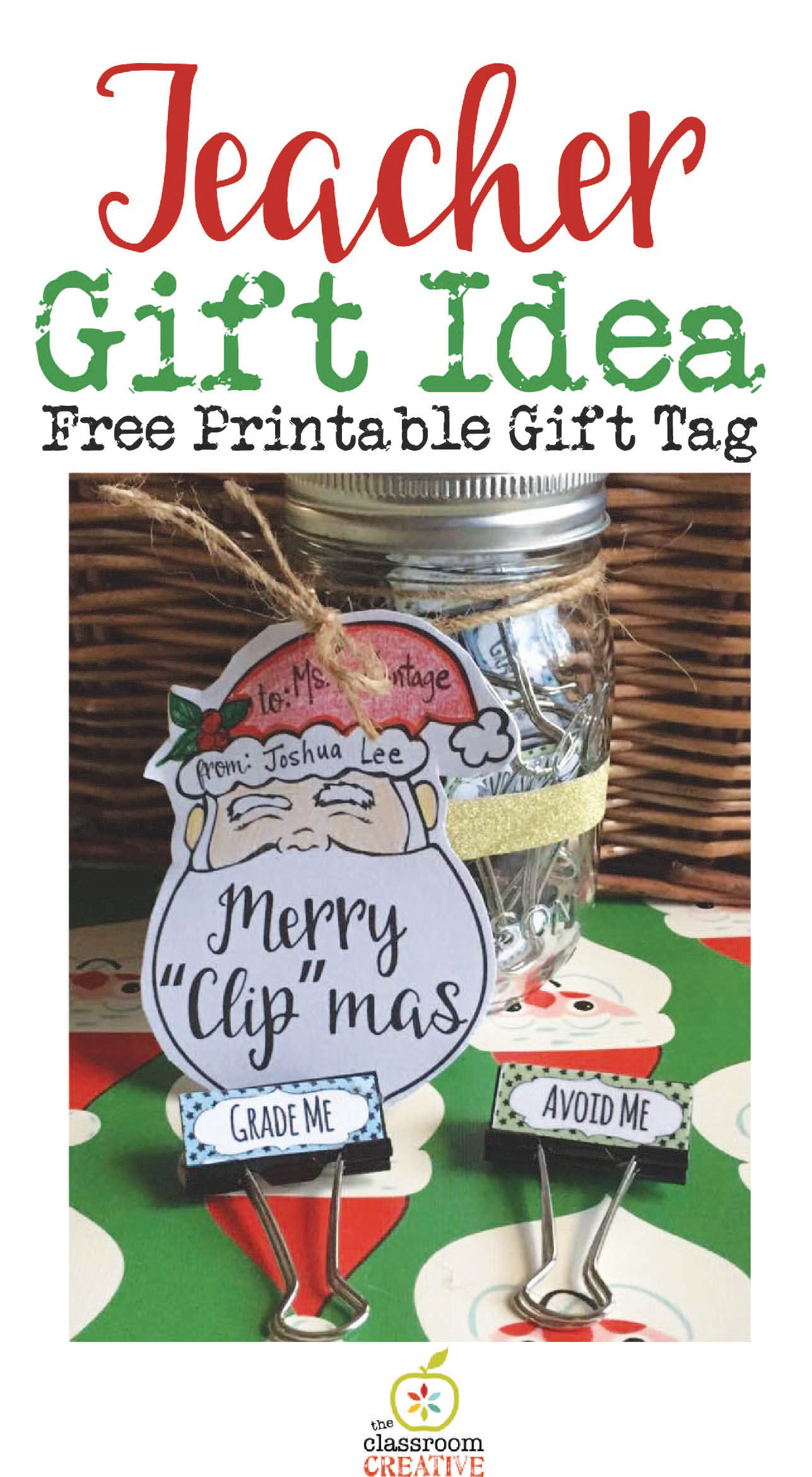 Teacher Gift Idea: Custom Binder Clips with a Free Printable Gift Tag