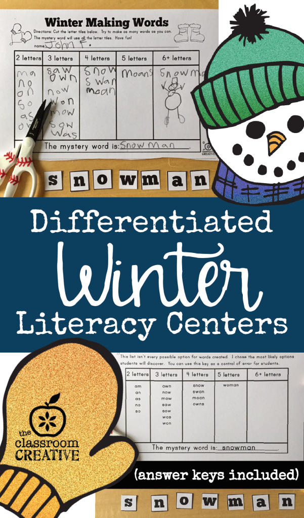 differentiated winter literacy centers