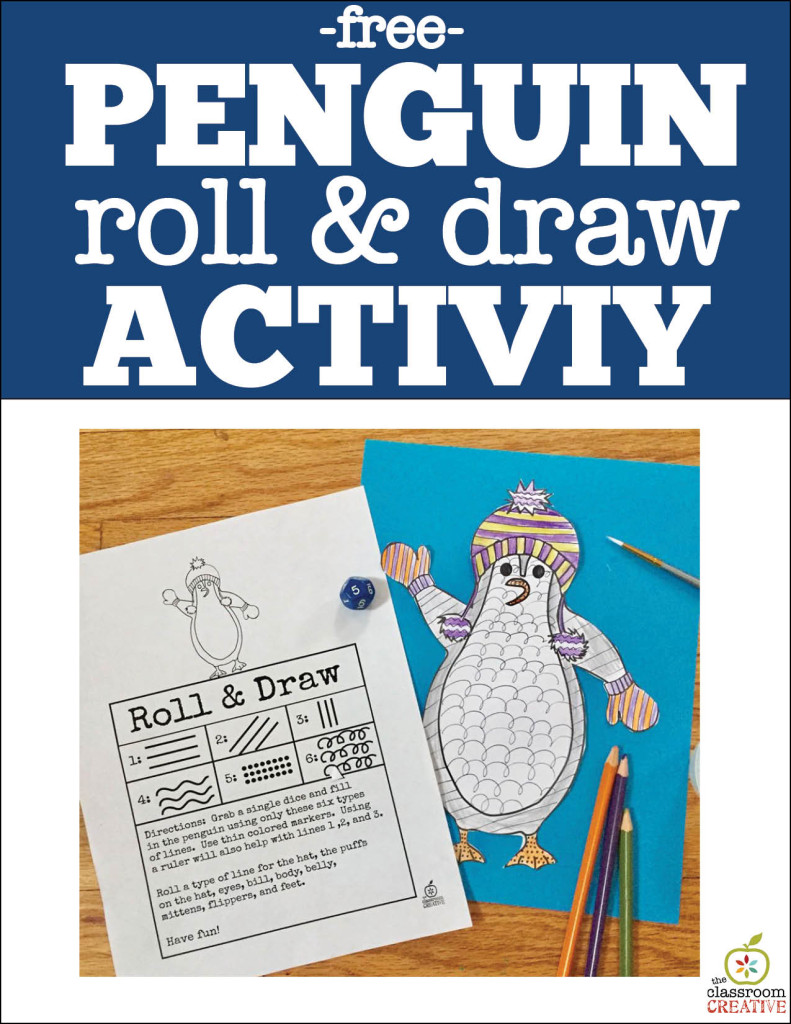 penguin roll and draw freebie theclassroomcreative.com