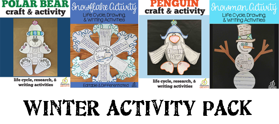 snowman, polar bear, penguin, snowflake activities