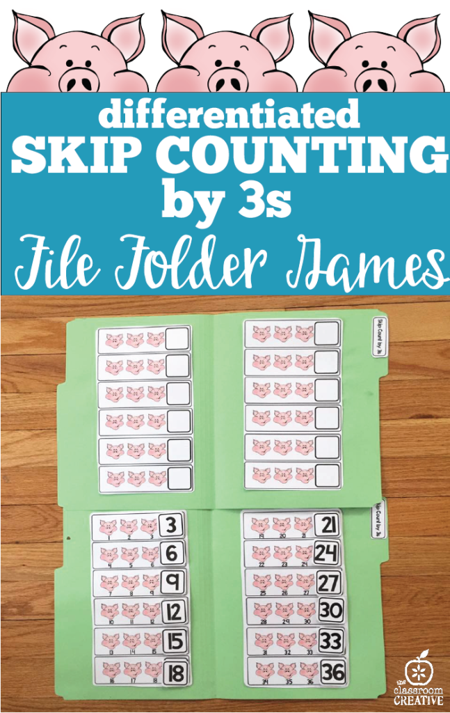 skip counting by 3s file folder game and math centers