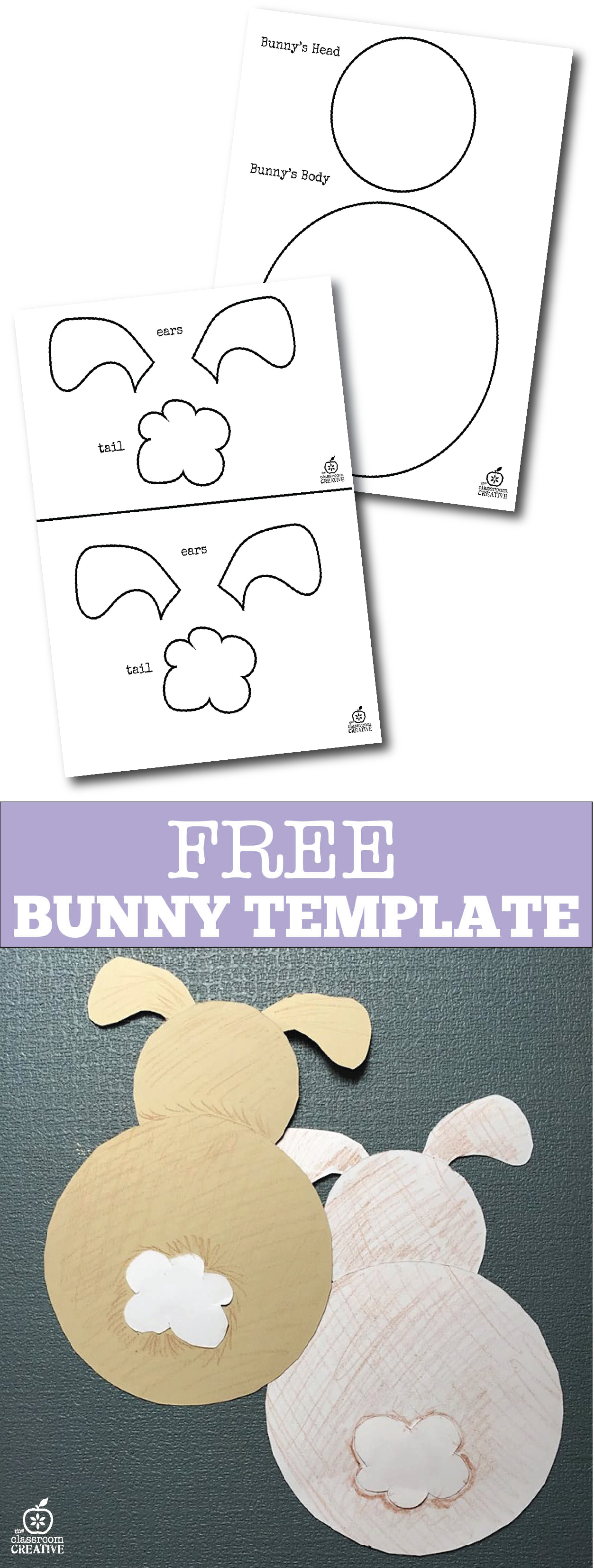 free bunny template rear view